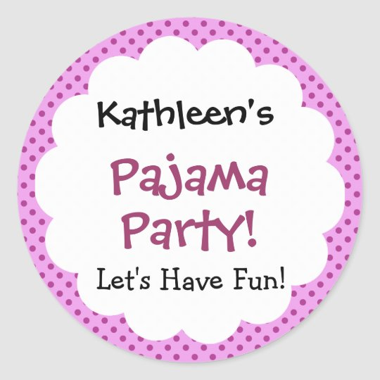 Pajama Party Cute Polka Dot Pattern Party Favour