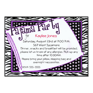 Pajama Party In Black and Purple 13 Cm X 18 Cm Invitation Card