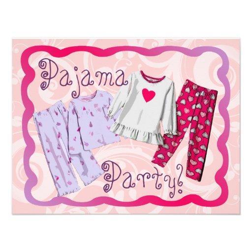 Pajama Party Invitation, Pink and Purple PJ's