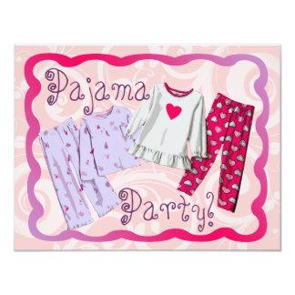 "Pajama Party Invitation, Pink and Purple PJ's 4.25"" X 5.5"" Invitation Card"