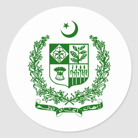 Pakistan coat of arms classic round sticker