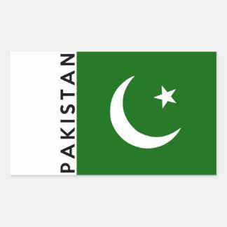 pakistan country flag text name rectangular sticker