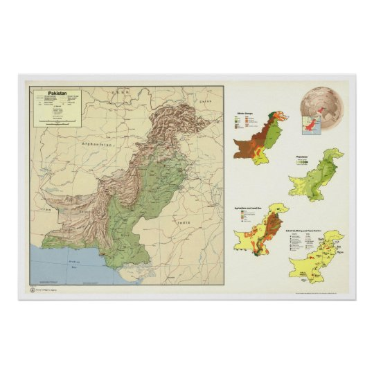 Pakistan Detailed Map - 1973 Poster