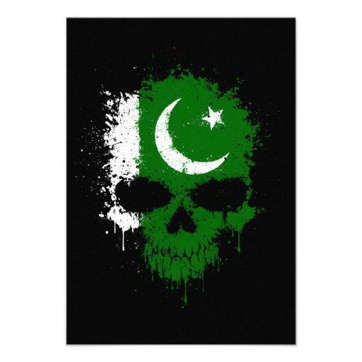Pakistan Dripping Splatter Skull Personalized Invitations
