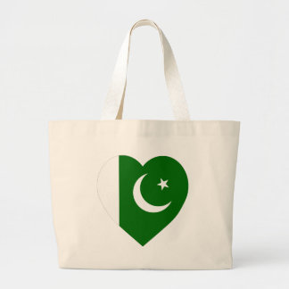 Pakistan Flag Heart Large Tote Bag