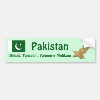 Pakistan Flag + Map Bumper Sticker