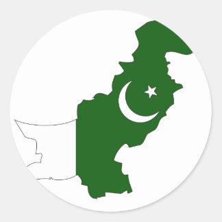 Pakistan flag map classic round sticker