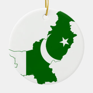 Pakistan Map Flag Round Ceramic Decoration