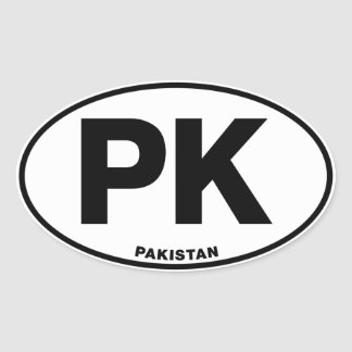 Pakistan PK Oval ID Identification Code Initials Oval Sticker