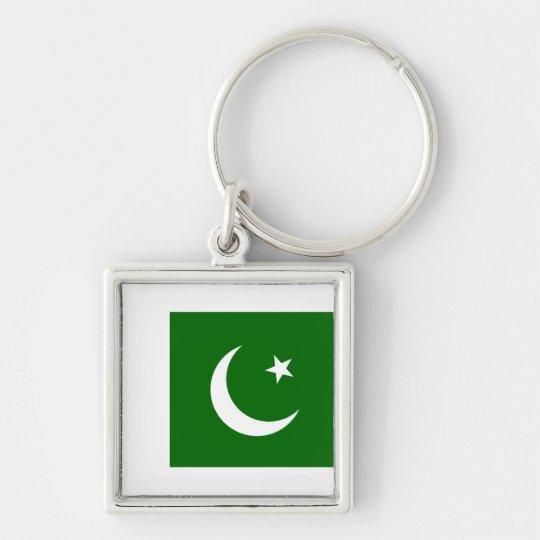 Pakistan PK Silver-Colored Square Key Ring