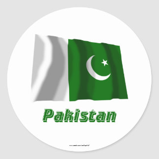 Pakistan Waving Flag with Name Classic Round Sticker