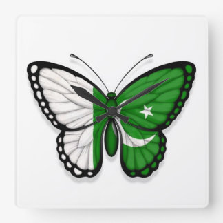 Pakistani Butterfly Flag Square Wall Clock