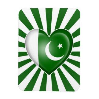 Pakistani Heart Flag with Star Burst Vinyl Magnet