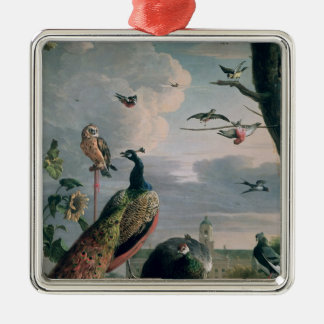 Palace of Amsterdam with Exotic Birds Silver-Colored Square Decoration