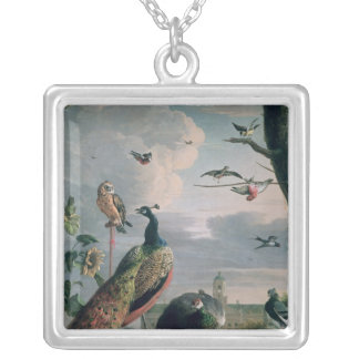 Palace of Amsterdam with Exotic Birds Square Pendant Necklace