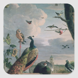 Palace of Amsterdam with Exotic Birds Square Sticker