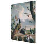 Palace of Amsterdam with Exotic Birds Stretched Canvas Print
