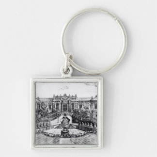 Palace of the Calm of the Sea and the Water Clock, Silver-Colored Square Key Ring