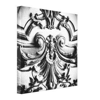 Palace of Versailles, Black and White Photograph Stretched Canvas Print
