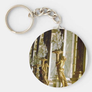 Palace of versailles Hall of mirrors Golden statue Basic Round Button Key Ring
