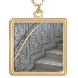 Palacio de Communicaciones, Moorish tiles Square Pendant Necklace