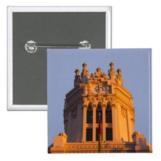 Palacio de Communicaciones, tower detail, sunset 15 Cm Square Badge