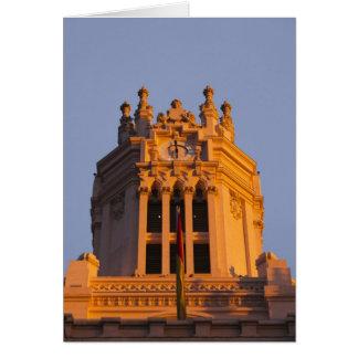 Palacio de Communicaciones, tower detail, sunset Cards