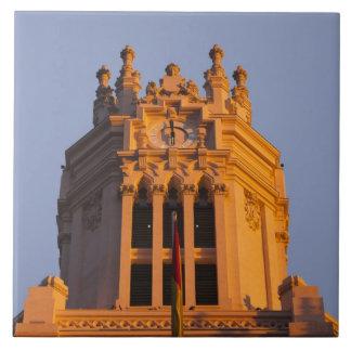 Palacio de Communicaciones, tower detail, sunset Large Square Tile