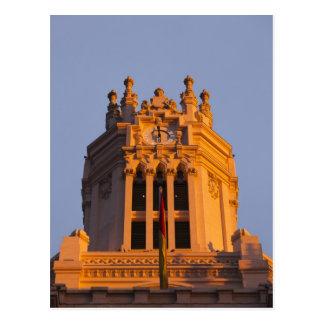 Palacio de Communicaciones, tower detail, sunset Postcard
