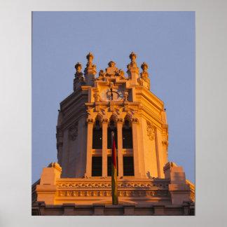 Palacio de Communicaciones, tower detail, sunset Poster