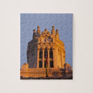 Palacio de Communicaciones, tower detail, sunset Puzzles
