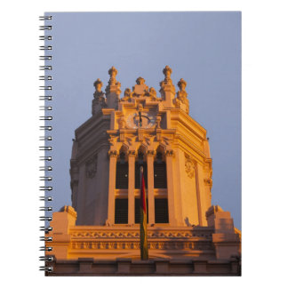 Palacio de Communicaciones, tower detail, sunset Spiral Notebook