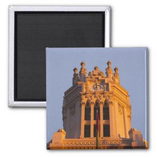 Palacio de Communicaciones, tower detail, sunset Square Magnet