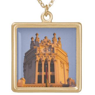 Palacio de Communicaciones, tower detail, sunset Square Pendant Necklace