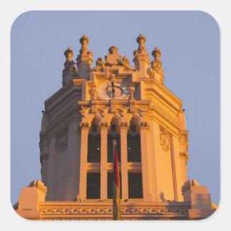 Palacio de Communicaciones, tower detail, sunset Square Sticker