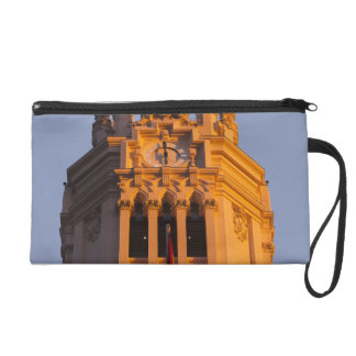 Palacio de Communicaciones, tower detail, sunset Wristlet Purse