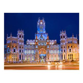 Palacio de Comunicaciones at Night in Madrid Postcard