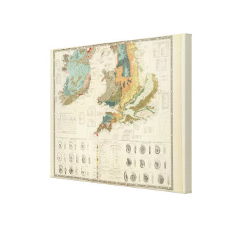 Palaeontological map British Islands Canvas Print