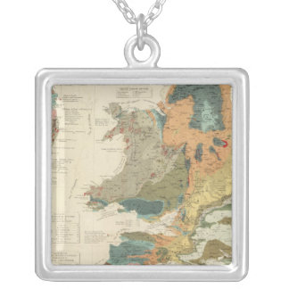 Palaeontological map British Islands Silver Plated Necklace