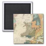Palaeontological map British Islands Square Magnet