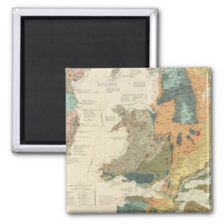 Palaeontological map British Islands Square Magnet