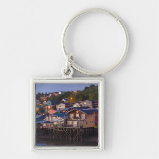 Palafito stilt houses, elevated view Silver-Colored square key ring