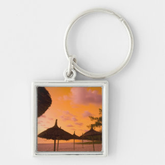 Palapa style beach huts at sunrise, Belle Mare 2 Silver-Colored Square Key Ring