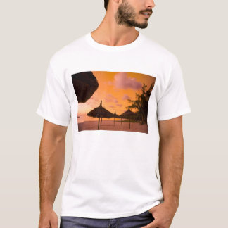 Palapa style beach huts at sunrise, Belle Mare 2 T-Shirt