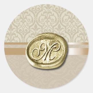 Palatial - Initial (Sand) Round Sticker
