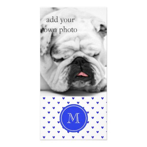 Palatinate Blue Glitter Hearts with Monogram Photo Card