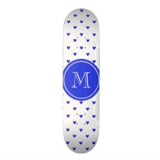 Palatinate Blue Glitter Hearts with Monogram Skate Deck