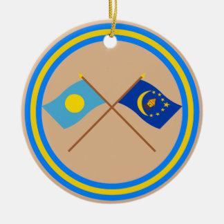 Palau and Koror Crossed Flags Christmas Ornament