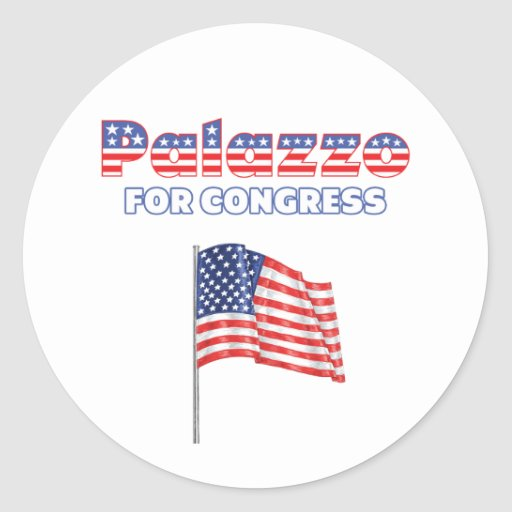 Palazzo for Congress Patriotic American Flag Round Stickers