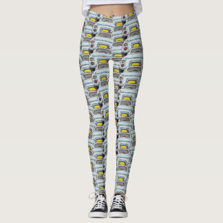 Pale Aqua Blue Figaro Car Convoy Traffic Leggings